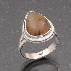 925 SOLID STERLING SILVER GOLDEN RUTILE RING 5.28g DJR4928 #Handmade #Ring