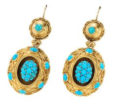 Archaeological Revival Turquoise Earrings - 15K gold domes set with Turquoise . circa 1870. The Three Graces