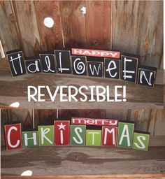 "Reversible ""Happy Halloween"" and ""Merry Christmas"" wood blocks Feliz Halloween, Holidays Halloween, Halloween Crafts, Happy Halloween, Halloween Decorations, Christmas Decorations, Halloween Blocks, Halloween Signs, Halloween Ideas"