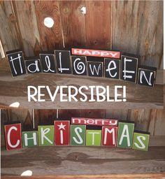 REVERSIBLE Happy HALLOWEEN and Merry CHRISTMAS Wood Blocks home decor holiday seasonal vinyl lettering primitive