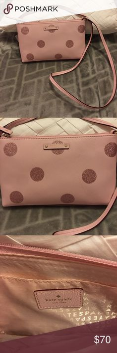 """Kate Spade Ramey Haven Lane Pink Cross body bag NWT Cross body pink leather with glitter polka dots (has slight defect, as shown in pic #2) measures 10.3"""" X 6.4"""" X 2"""" Brand New with tags and care book. kate spade Bags Crossbody Bags"""