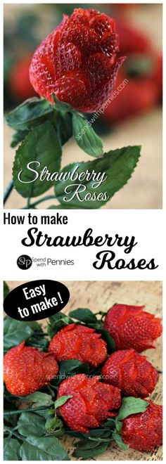 How to make strawberry roses! These gorgeous roses are so quick & easy to make... anyone can do it! They take less than 2 minutes each! #itdoesnttastelikechicken #vegan #food #glutenfree #dairyfree #vegetarian #cleaneating #foodgasm #healthyfood #veganfood #veganrecipes