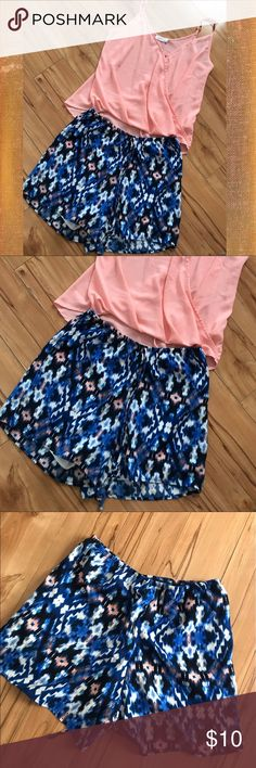 """See You Monday """" Blue,Pattern Shorts , S Polyester drawstring shorts. Elastic waist & lined -13"""" total length ,comfortable & cute.for spring by See You Monday ,Los Angela's, Small ( gently worn) See You Monday Shorts"""