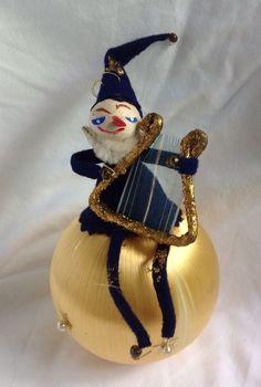 Vintage Satin Thread Ball Pipe Cleaner Elf Harp Xmas Ornaments JAPAN Mid Century
