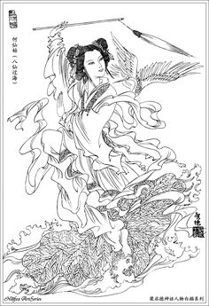 He Xiangu, the Eight Immortals is the only female deity among the Eight Immortals.Her lotus flower improves one's health, mental and physical. She is depicted holding a lotus flower, and sometimes with the musical instrument known as Shēng, or a fènghuáng bird to accompany her. She may also carry a bamboo ladle or fly-whisk.