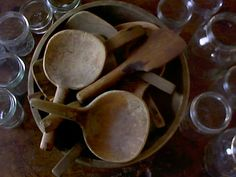 Butter paddles in a wooden bowl