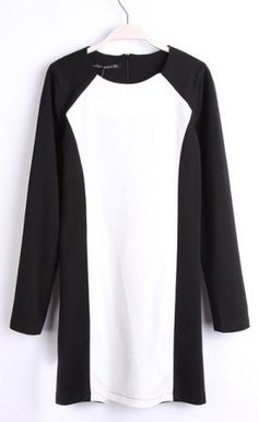 Black White Round Neck Long Sleeve Zipper Dress - the lines will be slimming.