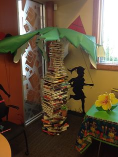 Palm Tree made out of stacked books, a golf umbrella, and large green paper leaves.  Delaware County District Library Outreach Retreat