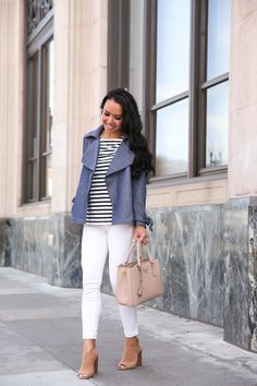 Spring outfit idea - business casual outfit, chambray trench coat, white jeans, striped shirt, prada saffiano lux satchel - click the photo for outfit details!