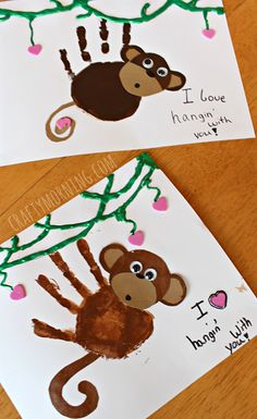 Handprint Monkey Valentine Craft for Kids #Cards | CraftyMorning.com