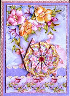 Pastel Floral Card Front Tea Bag Tiles on Craftsuprint designed by Carol Lepard - made by Peggy Stogdill who explains how she created it. Buy the card front and teabag tiles shown above this card on craftsuprint site.