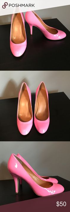 J.Crew size 9, pink patent pumps J.Crew size 9, pink patent pumps. slightly worn but no scuffs, in great condition! J. Crew Shoes Heels