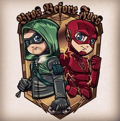 Green and Red Arrow