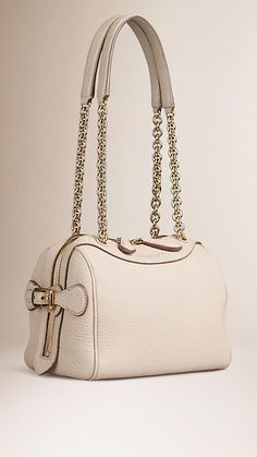 Burberry Stone The Mini Bee in Leather with Chain Straps - A mini bowling bag in grainy leather with polished metal chain and leather straps. The bag features a double-layer construction, and a grosgrain interior with concealed wing pockets lined in soft leather.