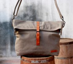 Canvas Bag Backpack / Leather / Laptop / School / Shopping / Messenger / Travel / Brown / Bag This is a very high quality, natural tan colored canvas