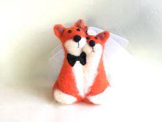 Needle felted Fox wedding cake topper fox cake topper от Felt4Soul