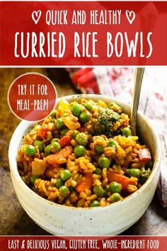 A great-for-you meal that's easy, inexpensive and SO delicious! Excellent for freezing and make-ahead meals! #vegan #vegetarian #meatless #dairy #gluten #free #healthy #quick #easy #budget #diet #weight #brown #rice #Indian #curry #vegetables #meal #prep