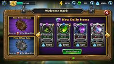 Oz Kingdom: New Daily Items Alert, part of the welcome back interstitial.