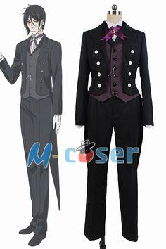 Black Butler Kuroshitsuji Sebastian Michaelis Uniform Outfit Cosplay Costume