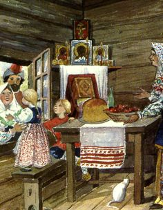 Pascha:  ukrainian art depicting peasants. notice the bread on the table welcoming the visitors