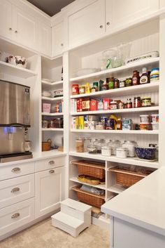 I like the pullout baskets at the bottom and closed front cupboards at the tops.  Some drawers are great too.
