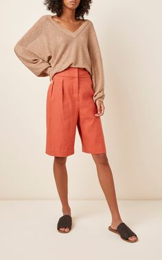 Expertly knit from cotton in a warm blush hue, Brunello Cucinelli's sweater is made for an oversized fit distinguished by its wide dolman sleeves. Brunello Cucinelli, Plunging Neckline, Cable Knit, Clothes For Women, Knitting, Sweaters, Cotton, Nili Lotan, Comfort Style