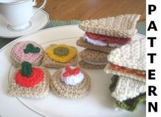 Play Food Crochet Pattern - Tea Sandwiches - finished items made from pattern may be sold. $5.00, via Etsy.