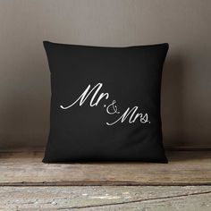 Pillow cover + insert 16x16, Wedding gift, Mr. & Mrs. Home decor, Anniversary gift, Pillow case, Sofa pillow, Designer throw pillow