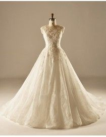 Awesome jewel neckline lace floral appliques a-line wedding dress crystals beaded   5w-355