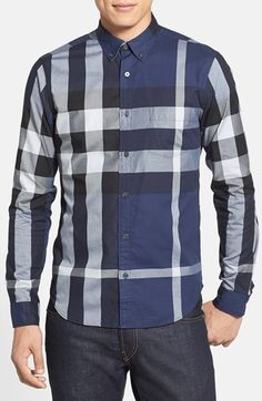 Burberry Brit  Fred  Trim Fit Sport Shirt available at  Nordstrom Burberry  Shirts For 5d4857ab5766