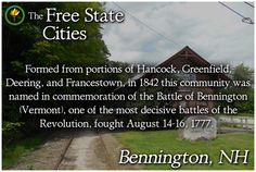 Learn about the history of any New Hampshire town at The Free State Encyclopedia! http://freestatenh.org/encyclopedia/cities/bennington.php
