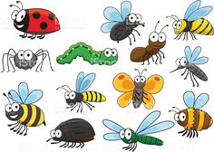Friendly smiling cartoon bee and bug, butterfly and caterpillar, fly. Spider Cartoon, Bug Cartoon, Cartoon Butterfly, Butterfly Drawing, Art Drawings For Kids, Drawing For Kids, Cartoon Images, Cartoon Drawings, Bee Drawing