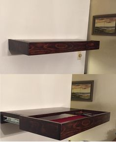 Ted's Woodworking Plans - A Free Floating Shelf with hidden compartment Get A Lifetime Of Project Ideas & Inspiration! Step By Step Woodworking Plans Beginner Woodworking Projects, Teds Woodworking, Woodworking Quotes, Woodworking Ideas, Woodworking Classes, Woodworking Furniture, Woodworking Machinery, Woodworking Workshop, Popular Woodworking