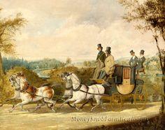 Coach Passing English Country Estate ~ Alken, Horses ~ Cross Stitch Pattern #StoneyKnobFarmHeirlooms #Frame