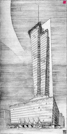 """Frank Lloyd Wright's sketch for the never-constructed Rogers Legacy Hotel. Wright hinted that his design would """"glisten in the night,"""" suggested calling the building """"the Lone Star,"""""""
