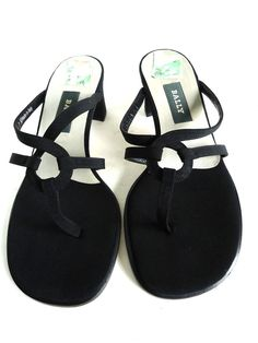"""Womens BALLY Shoes Strappy Toe Thong Dress Sandal Italy Size 7~ 2""""Heel Pumps #Bally #Strappy"""