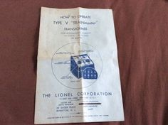 vintage HOW TO OPERATE TYPE V TRAINMASTER transformer BOOKLET LIONEL #Lionel