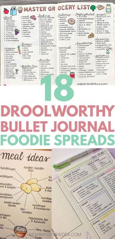 Hungry for BULLET JOURNAL MEAL PLANNING and FOOD LOG ideas for your planner? Check out these delicious foodie bujo spreads for inspiration. Meal planning food log tracker and diary recipe ideas in lists doodles drawings icons and pictures restauran Pasta Bar, Bujo, Fitness Journal, Food Journal, Journal Ideas, Recipe Journal, Journal Layout, Journal Pages, Planning Budget