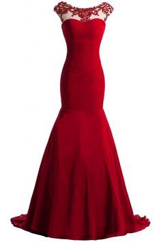 Angel Bride Mermaid Open Back Long Chiffon Evening Dresses with Train- US Size 10