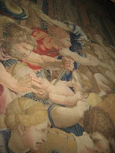 Slaughter of the Innocents I, tapestry, Vatican Museum, Rome.  Heartbreaking. Bringing to life the story of Herod's decree, framed as a battle of mothers to save their babies.  So compelling you can't turn away from it.
