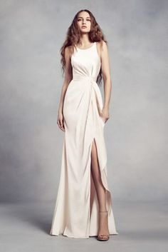 Charmeuse And Chiffon Bridesmaid Dress With Ruffle Vw360340 High Neck Dresses Champagne