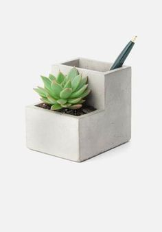 Concrete Desktop Planter Small - Plant Pots - Home Decoration - Home Accessories Cement Planters, Concrete Pots, Concrete Crafts, Indoor Planters, Office Accessories, Home Decor Accessories, Decorative Accessories, Planter Accessories, Beton Design