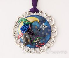 - SOLD - Goth Pagan Witch in Crescent Moon Pendant  by DeidreDreams on Etsy, $85.00
