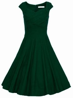 Dark Green Raw Waterfall Underskirt Heart Shape Collar Sleeveless Flare  Dress Robe Shein d441e7f4c2c3