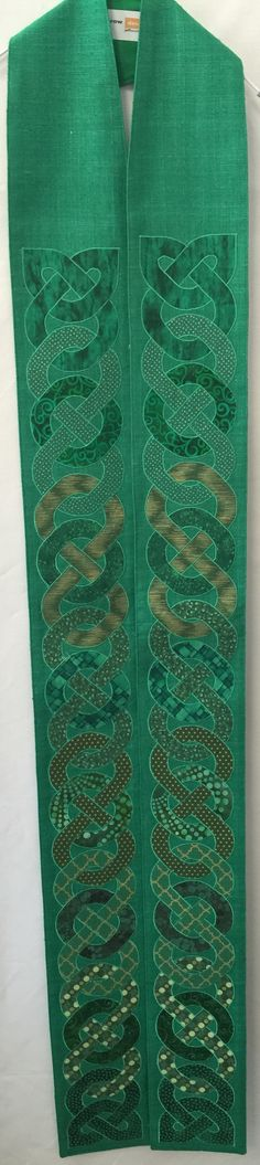 Green St Owain Celtic Knot Clergy Stole of silk matka and cotton