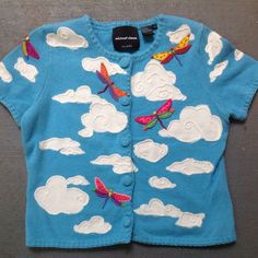 Michael Simon Sweater M Dragonfly Sky Blue Clouds Short Sleeve Embellished #MichaelSimon #Cardigan