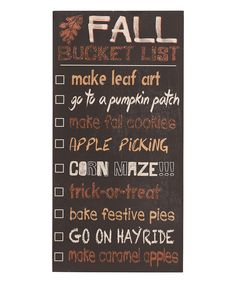 This 'Fall Bucket List' Wall Sign by Transpac Imports is perfect! #zulilyfinds