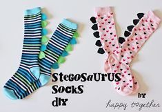extra dry ones mean DIY projects. Stegosaurus DIY Socks from Happy Together Sewing Basics, Sewing Hacks, Sewing Tutorials, Sewing Crafts, Sewing Patterns, Basic Sewing, Sewing Stitches, Sewing For Kids, Diy For Kids