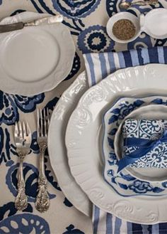 Nell Hills Blue Table Setting with Francis I                                                                                                                                                                                 More