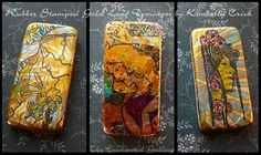 Domino rubber stamp art covered in gold foil leafing